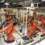 robots in production facility